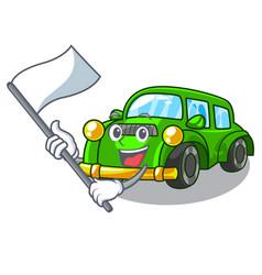 With flag classic car toys in cartoon shape vector