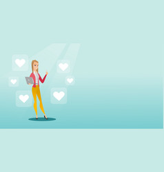 Woman with laptop and heart icons vector