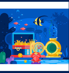 Chest of gold in the sand under watermarine life vector