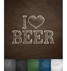 i love beer icon vector image vector image