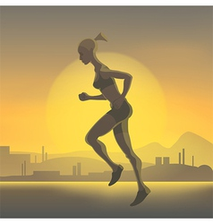 Silhouette of running girl vector image