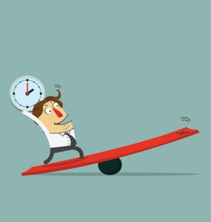 Businessman hold clock and stand on lever vector image