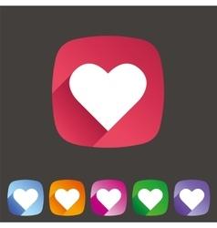 Heart love icon flat web sign symbol logo label vector image vector image