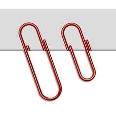 Red metal paperclip and paper vector image vector image