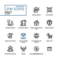 robots - line design icons set vector image vector image