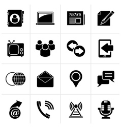 Black Media and communication icons vector image vector image