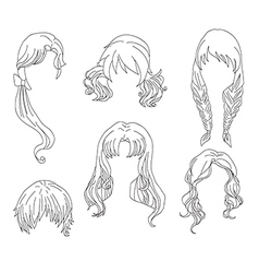 Hair styling for woman drawing Set 4 vector image vector image