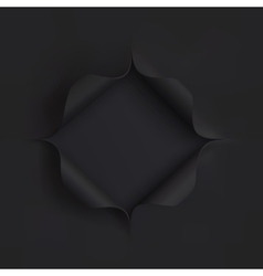 Hole in black paper vector image vector image