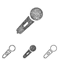 Microphone icon set - sketch line art vector