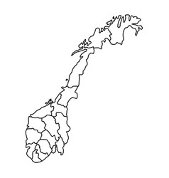norway map with fylke of black contour curves vector image vector image