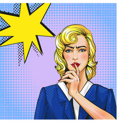 pop art of woman with finger vector image vector image