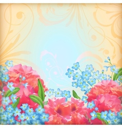 Retro flowers roses background vector image