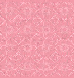 seamless geometric white pattern on a pink vector image