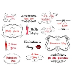 Set of love and Valentines calligraphic headlines vector image
