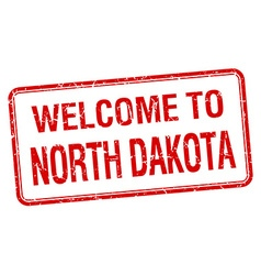 welcome to North Dakota red grunge square stamp vector image