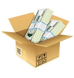 Cardboard Box with Dollar Bills vector image