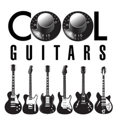 cool guitar graphic with lots of guitars vector image vector image
