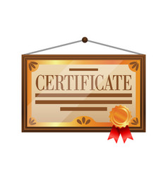 flat color certificate icon isolated on white vector image vector image