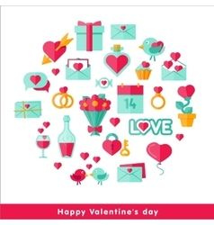 Valentine day icon set in flat vector image vector image
