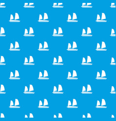vietnamese junk boat pattern seamless blue vector image