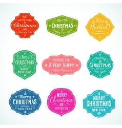 Vintage Typography Bright Color Cute Christmas vector image vector image