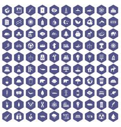 100 eco icons hexagon purple vector