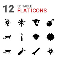 12 attack icons vector