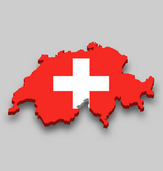 3d isometric map switzerland with national flag vector