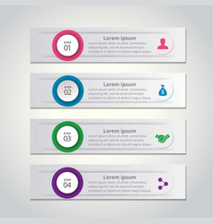 4 steps of infographic with pink blue green and vector image