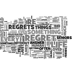 A life without regrets text word cloud concept vector