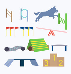 Agility dog obstacles dog sport equipment vector