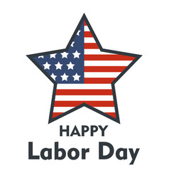 american star labor day logo icon flat style vector image