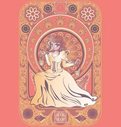 Art nouveau frame libra zodiac girl vector