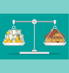 balance scales with private house and money vector image