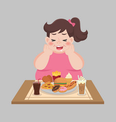 Big fat happy woman enjoy eat fast food vector