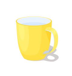 Big yellow ceramic mug with handle full of water vector