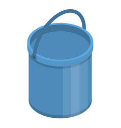 blue plastic bucket icon isometric style vector image