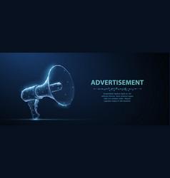Bullhorn abstract 3d megaphone on blue vector