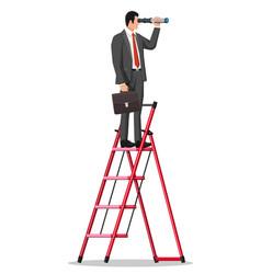 Businessman looking for opportunities in spyglass vector