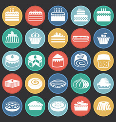 cake icons set on color circles black background vector image