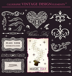 calligraphic elements vintage set holiday patterns vector image