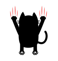 Cartoon black cat back view red bloody claws vector