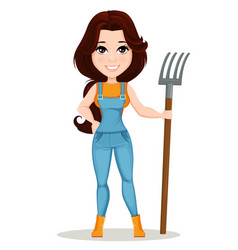 character beautiful farm woman 6 vector image