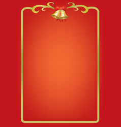 christmas card on red background with bells vector image