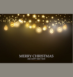 christmas garland with light lamp and stars vector image