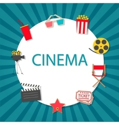 Cinema background with cinema icons set vector image