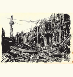 City town ruins - war place islamic world an hand vector