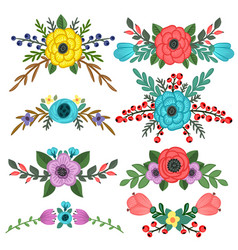 Collection flower bouquet embellishments vector
