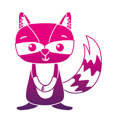 Color silhouette cute and surprised raccoon wild vector