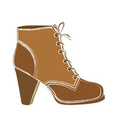 Color sketch of leather high heel shoe with vector